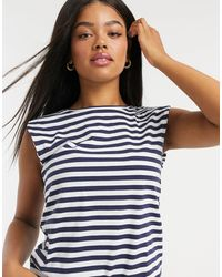 Stradivarius Round Neck Shoulder Pad Striped T-shirt - Multicolour