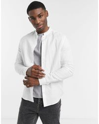 ASOS Regular Fit Smart Linen Shirt With Mandarin Collar - White