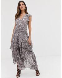 AllSaints Caris Kara Ruffle Midi Dress - Pink