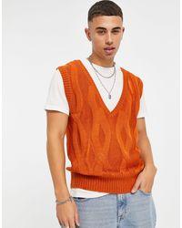 Another Influence Рыжий Жилет Вязки «косы» -коричневый Цвет - Оранжевый