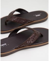 ASOS Flip Flop With Woven Leather Strap - Brown