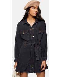 TOPSHOP Utility Frill Denim Dress - Black