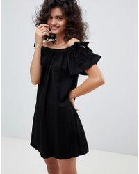 Mango - Off The Shoulder Linen Sundress In Black - Lyst