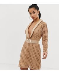 ASOS - Petite Tux Mini Dress In Broderie With Belt - Lyst