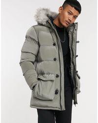 SIKSILK Puffer Parka Jacket With Faux Fur Hood - Green