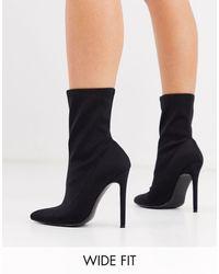 ASOS Esmerelda - Sock Boots Met Brede Pasvorm En Hoge Hak - Zwart
