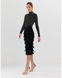 Oasis - Fringed Pencil Skirt In Black - Lyst