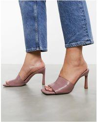 ASOS Hattie Mid-heeled Mule Sandals - Pink