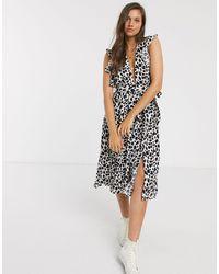 Glamorous Ruffle Sleeve Tea Dress - Multicolour