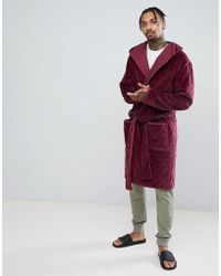 70f48b401d ASOS - Asos Hooded Dressing Gown Quilted In Velour - Lyst