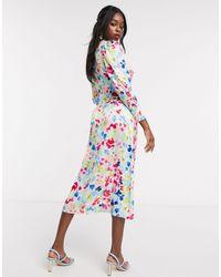 Never Fully Dressed Midi-jurk Met Aangerimpelde Mouwen En Contrasterende Neon Print - Meerkleurig