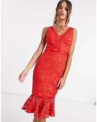 Lipsy Красное Облегающее Платье Из Кружева -красный