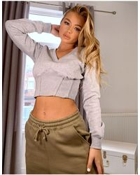 Missguided Cropped Sweatshirt With Corset Detail - Grey