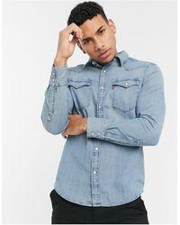 Levi's Выбеленная Классическая Рубашка Из Денима В Стиле Вестерн Со Светло-бежевым Оттенком Barstow-голубой - Синий