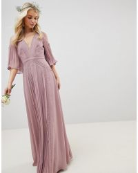ASOS - Design Bridesmaid Pleated Paneled Flutter Sleeve Maxi Dress With Lace Inserts - Lyst