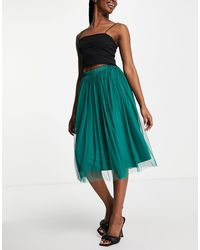 LACE & BEADS Tulle Midi Skirt - Green