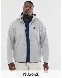 Nike Tall – Tech – Fleece-Kapuzenpullover - Grau