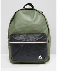 Le Coq Sportif Khaki Leather Look Backpack With Tricolore Trim - Multicolour