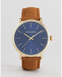 ASOS - Design Watch With Tan Faux Suede Strap And Contrast Navy Dial - Lyst