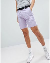 River Island - Slim Fit Chino Shorts With Belt In Lilac - Lyst