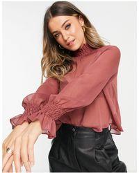 ASOS - Розовая Прозрачная Блузка С Длинными Рукавами И Сборками На Воротнике - Lyst