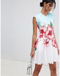 5e293dbd6 Ted Baker - Scalloped Skater Dress In Nectar Print - Lyst