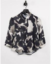 Monki Черно-белая Блузка Из Переработанного Материала С Длинными Рукавами И Принтом Hella-многоцветный