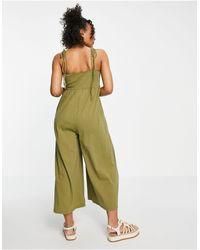 ASOS Tie Front Sleeveless Swing Jumpsuit - Green