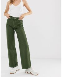 Monki Yoko Wide Leg Jeans With Organic Cotton - Green