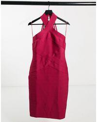 Lipsy Halterneck Bandage Dress - Pink
