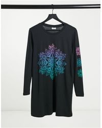 Noisy May Exclusive T-shirt Dress With Motif - Black