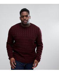 ASOS - Asos Plus Cable Knit Yoke Sweater In Burgundy - Lyst