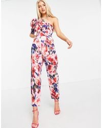 ASOS One Shoulder Puff Sleeve Jumpsuit - Red