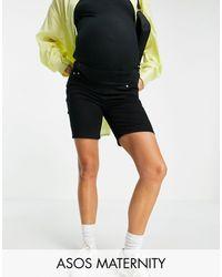 ASOS Asos Design Maternity Denim High Rise 'skinny' Stretch Shorts - Black