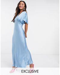 Ghost Синее Атласное Платье -синий