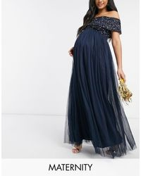 Maya Maternity Bridesmaid Off Shoulder Maxi Tulle Dress With Tonal Delicate Sequins - Blue
