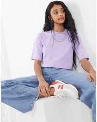 Monki Elina Organic Cotton Crop Top - Purple