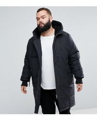 ASOS - Plus Heavyweight Parka With Borg Lined Hood In Black - Lyst