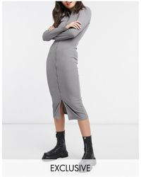 Collusion Long Sleeve Midi Zip Front Dress - Grey