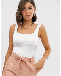 Missguided Corset Detail Top - White