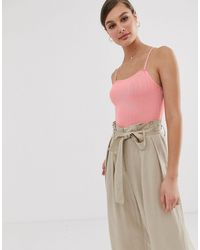 Mango Ribbed Cami Body - Pink