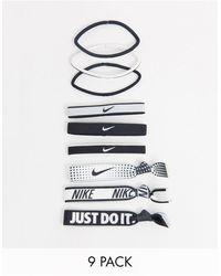 Nike Набор Из 9 Резинок Для Волос В Черно-белой Гамме С Принтом Логотипа -мульти - Многоцветный