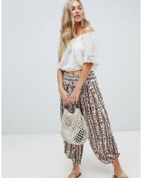Free People - Elena Soft Printed Trousers In Ivory - Lyst