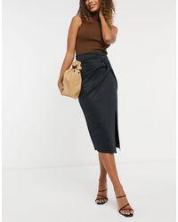 ASOS Wrapped Scuba Midi Pencil Skirt - Black