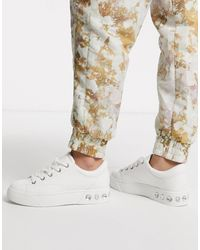 Bershka Gem Detail Lace Front Sneakers - White
