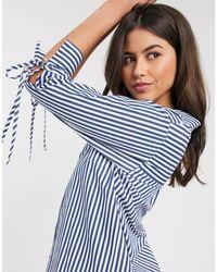 River Island Poplin Stripe Shirt - Blue