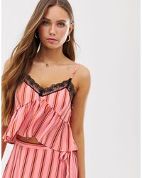 Glamorous Cami Crop Top With Lace Detail - Pink