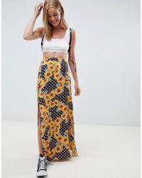2ceaddca94 ASOS Daisy Street Knitted Maxi Skirt In Stripe in White - Lyst