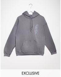 Reclaimed (vintage) Худи Темно-серого Цвета С Вышитым Логотипом Inspired-серый