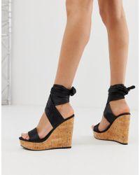 ASOS Twist Tie Leg Cork Wedges - Black